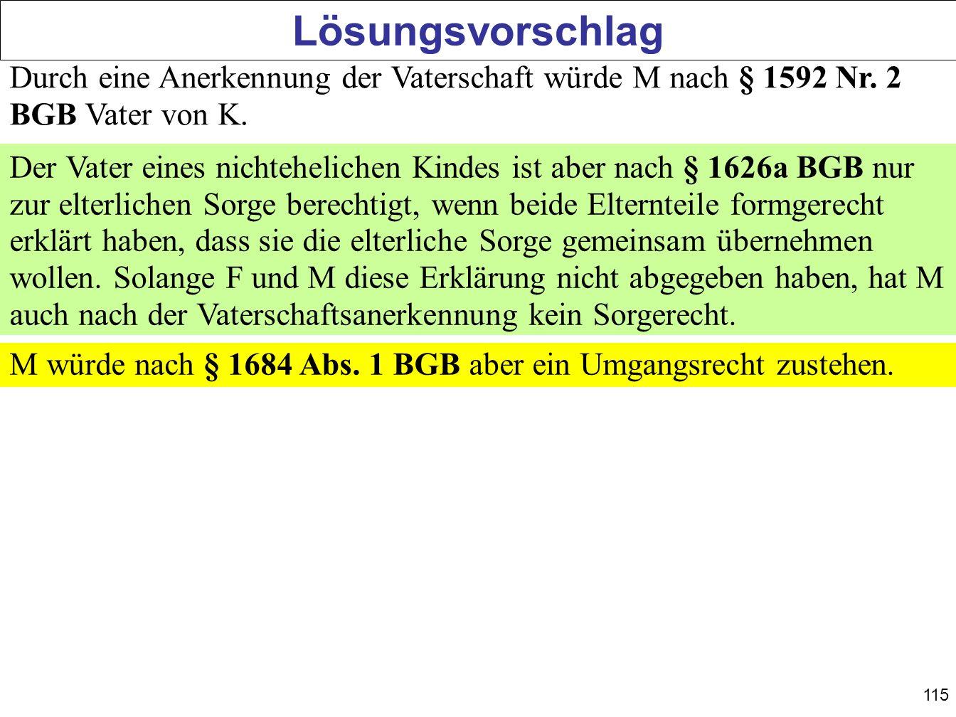 115 Lösungsvorschlag Durch eine Anerkennung der Vaterschaft würde M nach § 1592 Nr. 2 BGB Vater von K. Der Vater eines nichtehelichen Kindes ist aber