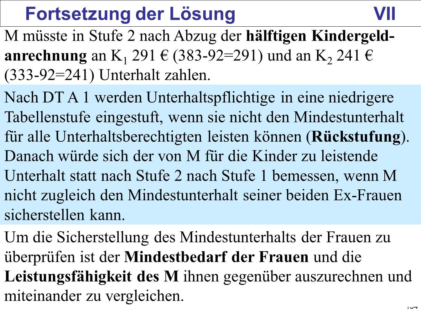 154 Fortsetzung der Lösung VII M müsste in Stufe 2 nach Abzug der hälftigen Kindergeld- anrechnung an K 1 291 (383-92=291) und an K 2 241 (333-92=241)