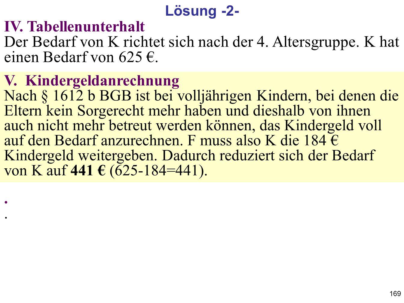 169 IV. Tabellenunterhalt Der Bedarf von K richtet sich nach der 4. Altersgruppe. K hat einen Bedarf von 625. V. Kindergeldanrechnung Nach § 1612 b BG