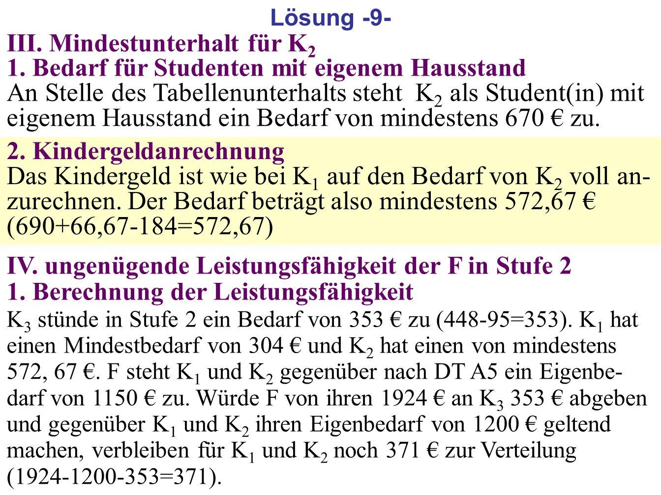 182 III. Mindestunterhalt für K 2 1. Bedarf für Studenten mit eigenem Hausstand An Stelle des Tabellenunterhalts steht K 2 als Student(in) mit eigenem