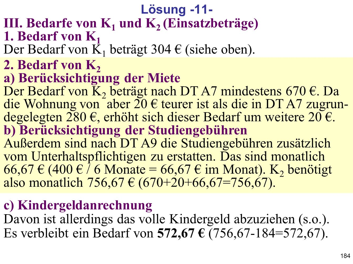 184 III. Bedarfe von K 1 und K 2 (Einsatzbeträge) 1. Bedarf von K 1 Der Bedarf von K 1 beträgt 304 (siehe oben). 2. Bedarf von K 2 a) Berücksichtigung