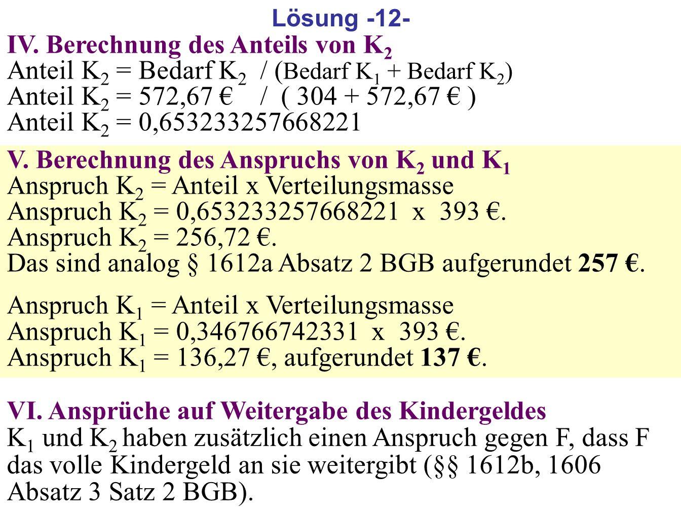 185 IV. Berechnung des Anteils von K 2 Anteil K 2 = Bedarf K 2 / ( Bedarf K 1 + Bedarf K 2 ) Anteil K 2 = 572,67 / ( 304 + 572,67 ) Anteil K 2 = 0,653