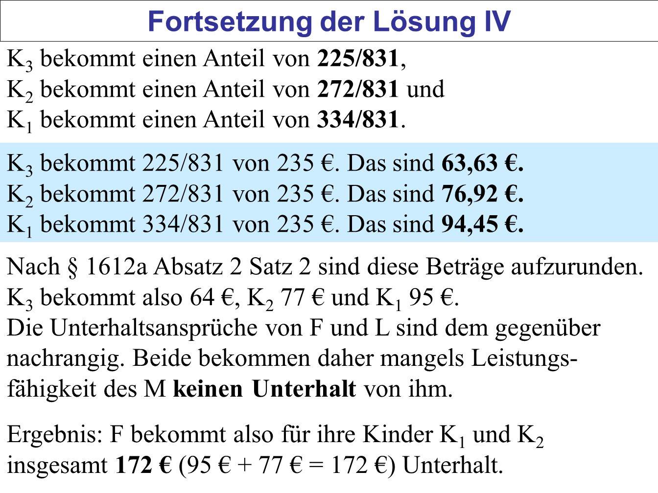 50 Fortsetzung der Lösung IV K 3 bekommt einen Anteil von 225/831, K 2 bekommt einen Anteil von 272/831 und K 1 bekommt einen Anteil von 334/831. K 3
