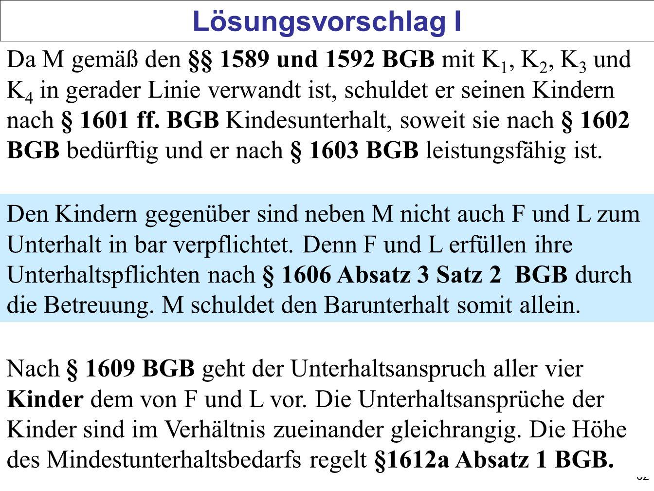 52 Lösungsvorschlag I Da M gemäß den §§ 1589 und 1592 BGB mit K 1, K 2, K 3 und K 4 in gerader Linie verwandt ist, schuldet er seinen Kindern nach § 1