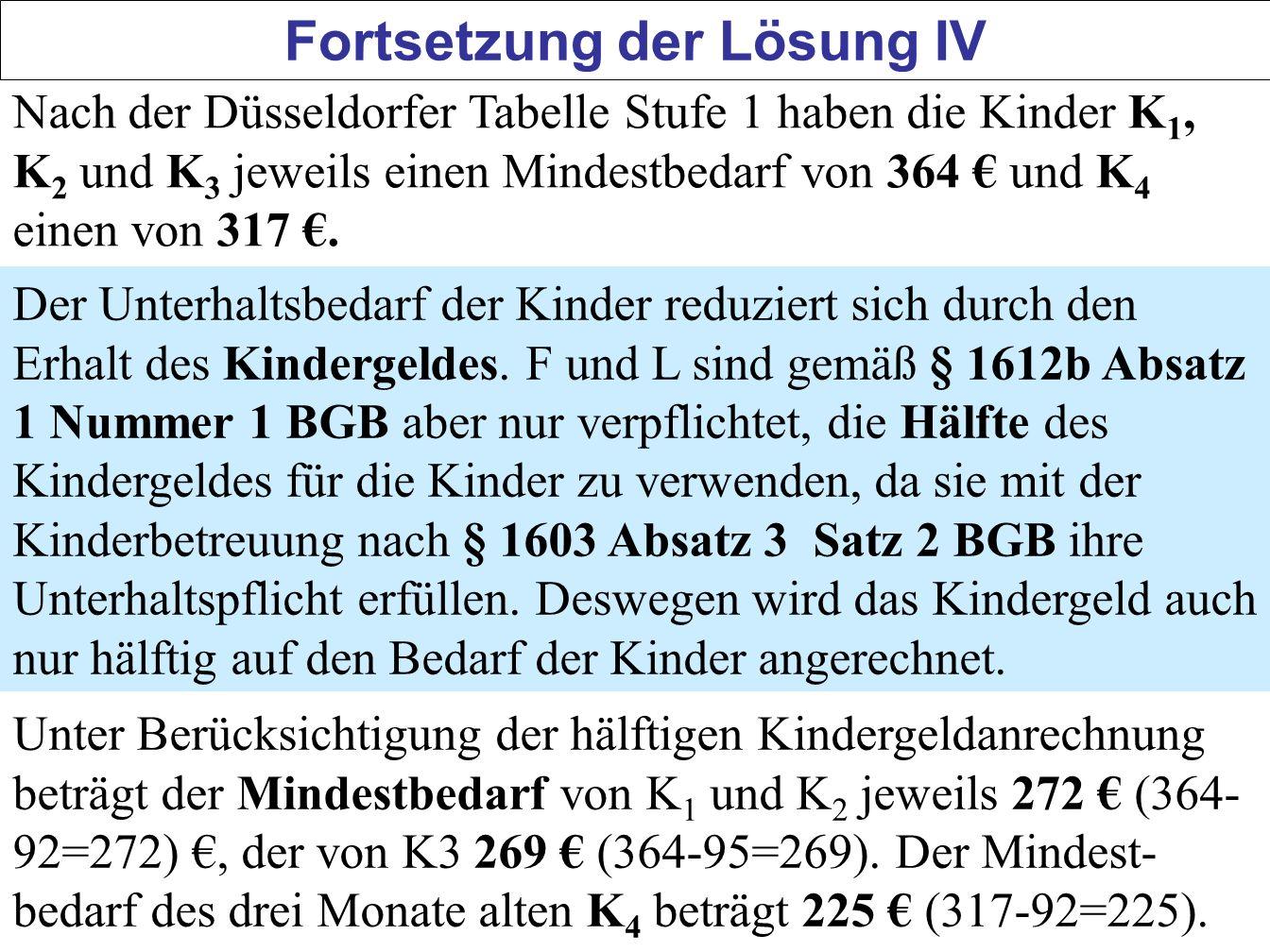 55 Fortsetzung der Lösung IV Nach der Düsseldorfer Tabelle Stufe 1 haben die Kinder K 1, K 2 und K 3 jeweils einen Mindestbedarf von 364 und K 4 einen