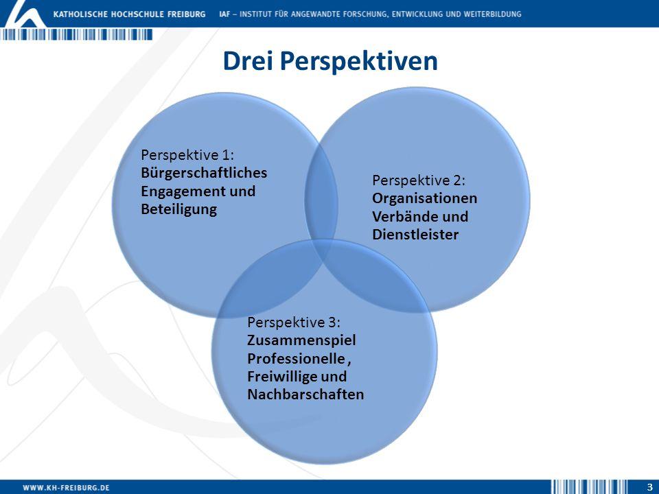3 Drei Perspektiven Perspektive 1: Bürgerschaftliches Engagement und Beteiligung Perspektive 2: Organisationen Verbände und Dienstleister Perspektive