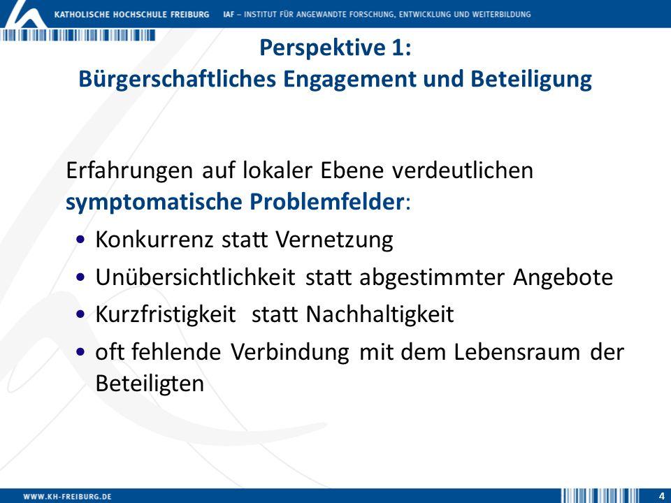 4 Perspektive 1: Bürgerschaftliches Engagement und Beteiligung 4 Erfahrungen auf lokaler Ebene verdeutlichen symptomatische Problemfelder: Konkurrenz