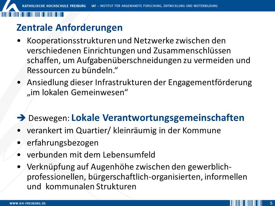 55 Zentrale Anforderungen Kooperationsstrukturen und Netzwerke zwischen den verschiedenen Einrichtungen und Zusammenschlüssen schaffen, um Aufgabenübe