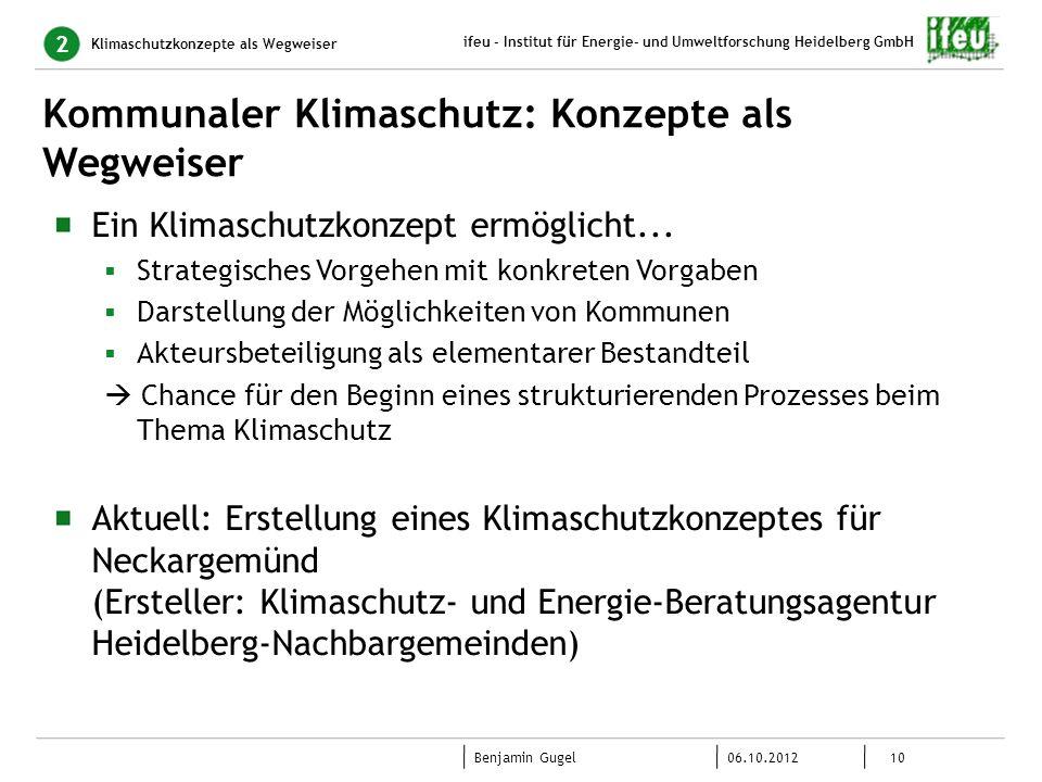 10 06.10.2012 Benjamin Gugel ifeu - Institut für Energie- und Umweltforschung Heidelberg GmbH Kommunaler Klimaschutz: Konzepte als Wegweiser Klimaschu