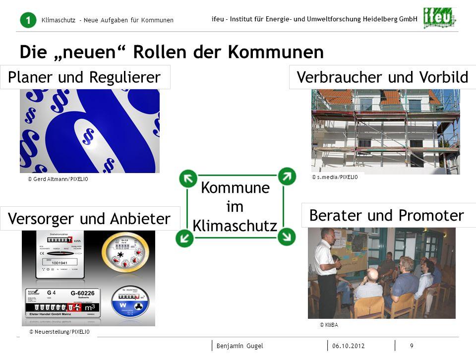 9 06.10.2012 Benjamin Gugel ifeu - Institut für Energie- und Umweltforschung Heidelberg GmbH Die neuen Rollen der Kommunen Klimaschutz - Neue Aufgaben