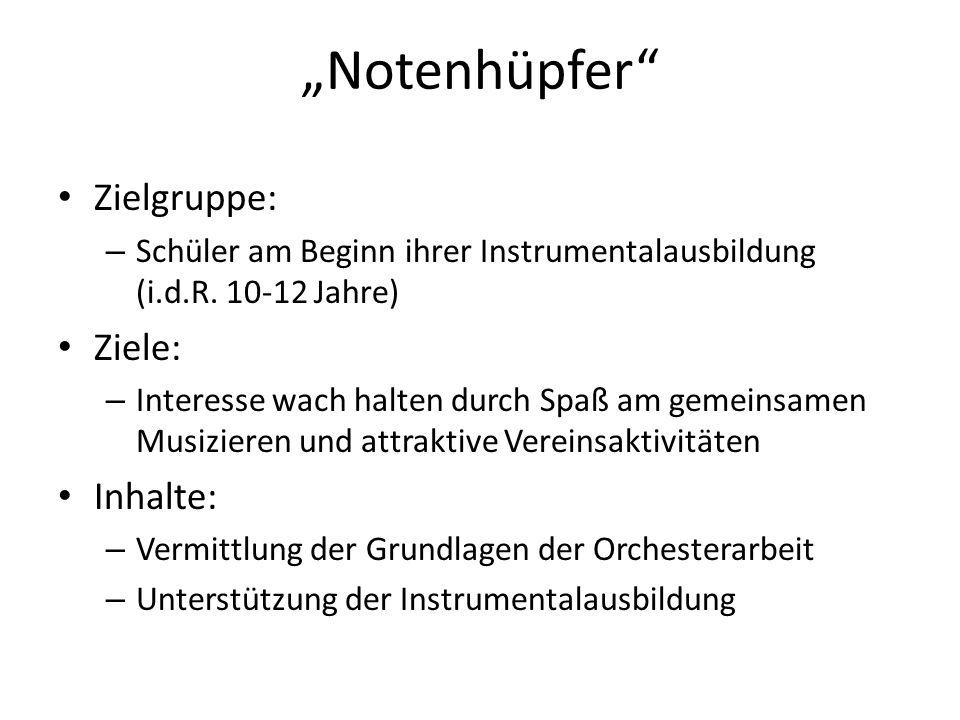 Notenhüpfer Zielgruppe: – Schüler am Beginn ihrer Instrumentalausbildung (i.d.R.