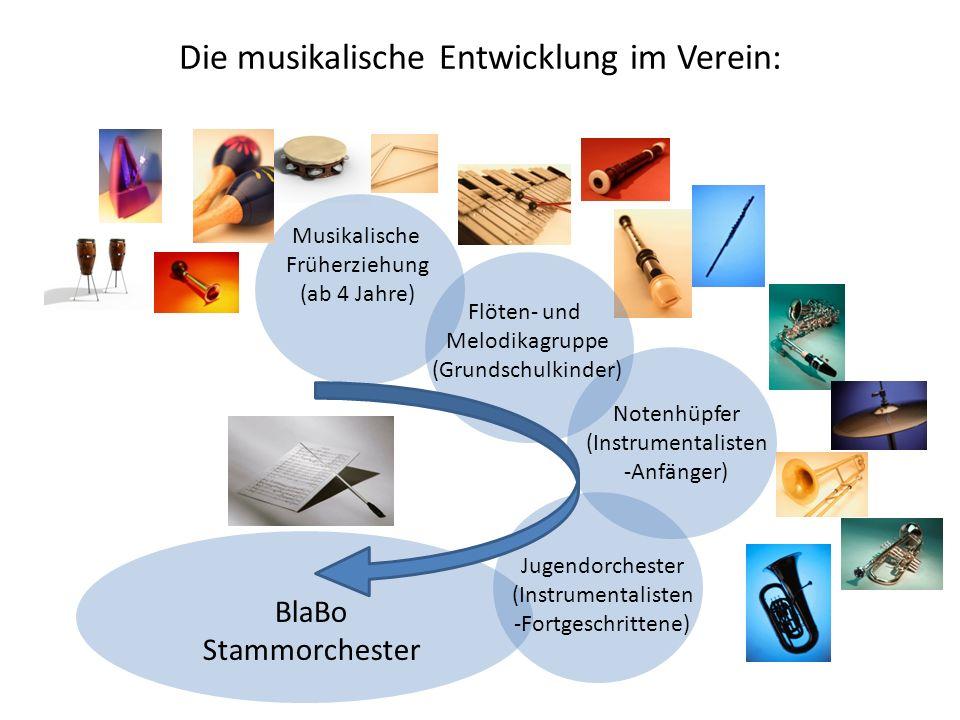 Die musikalische Entwicklung im Verein: Musikalische Früherziehung (ab 4 Jahre) Flöten- und Melodikagruppe (Grundschulkinder) Notenhüpfer (Instrumenta