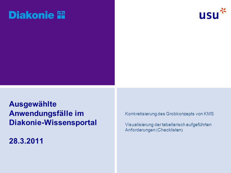 Ausgewählte Anwendungsfälle im Diakonie-Wissensportal 28.3.2011 Konkretisierung des Grobkonzepts von KMS Visualisierung der tabellarisch aufgeführten