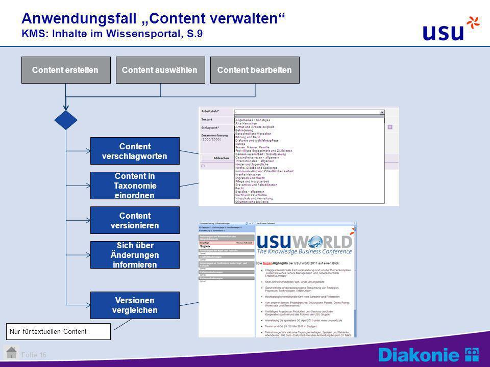 Folie 16 Anwendungsfall Content verwalten KMS: Inhalte im Wissensportal, S.9 Content auswählenContent bearbeitenContent erstellen Content verschlagwor