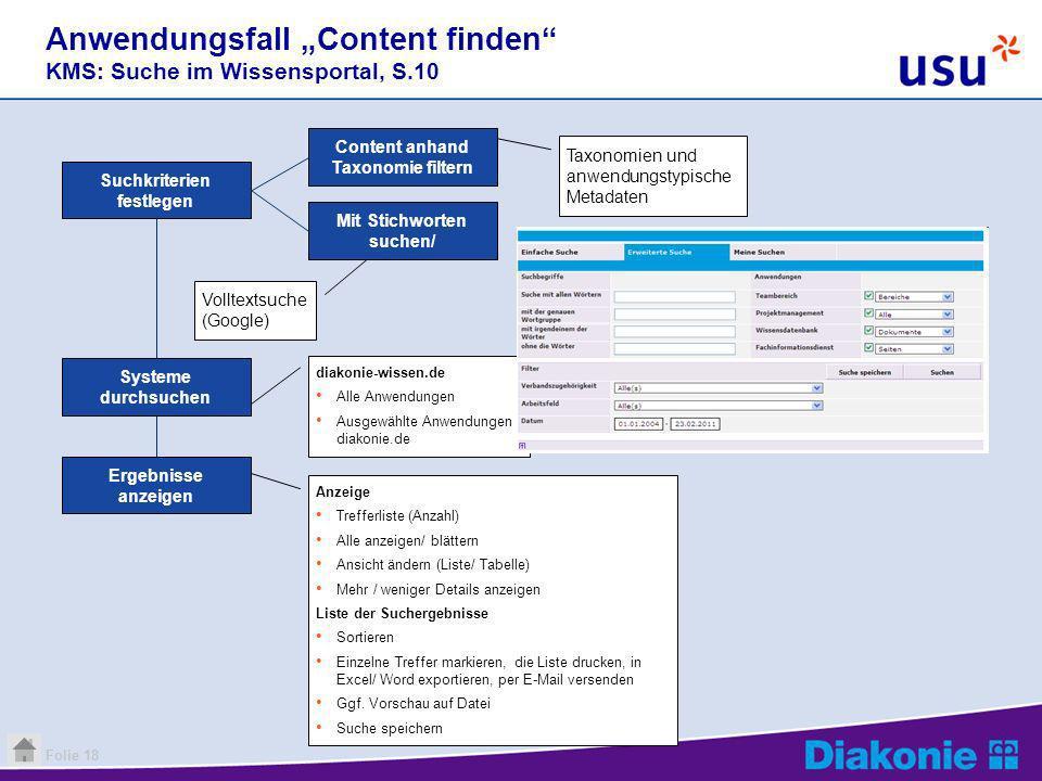 Folie 18 Volltextsuche (Google) Anwendungsfall Content finden KMS: Suche im Wissensportal, S.10 Suchkriterien festlegen diakonie-wissen.de Alle Anwend