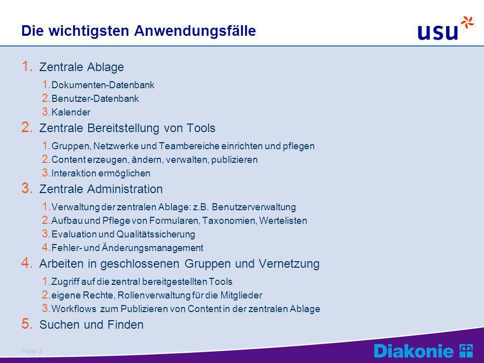 Folie 2 Die wichtigsten Anwendungsfälle 1. Zentrale Ablage 1. Dokumenten-Datenbank 2. Benutzer-Datenbank 3. Kalender 2. Zentrale Bereitstellung von To