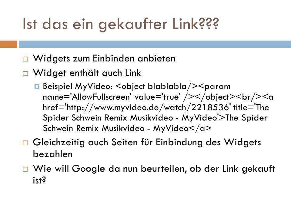 Ist das ein gekaufter Link??? Widgets zum Einbinden anbieten Widget enthält auch Link Beispiel MyVideo: The Spider Schwein Remix Musikvideo - MyVideo
