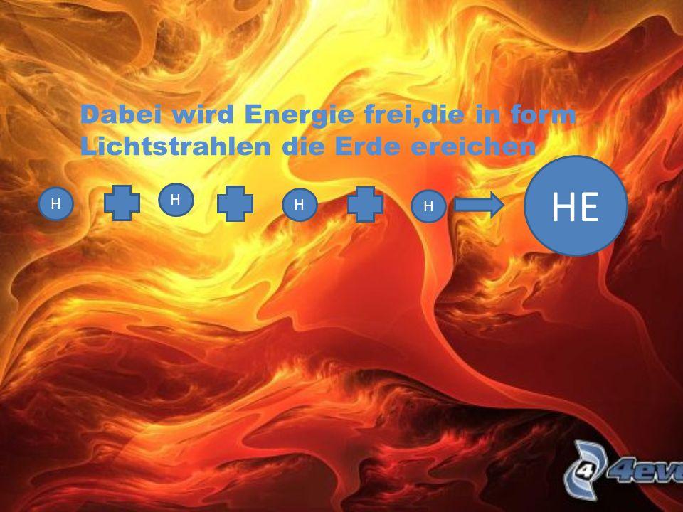 Dabei wird Energie frei,die in form Lichtstrahlen die Erde ereichen H H H H HE