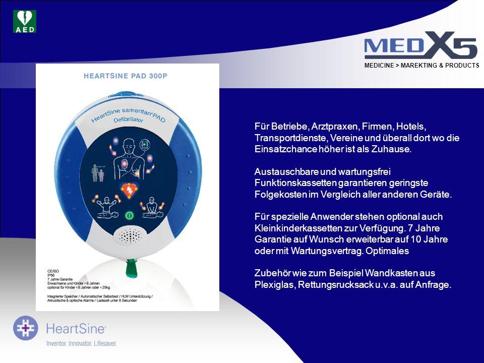 MEDICINE > MAREKTING & PRODUCTS Für Betriebe, Arztpraxen, Firmen, Hotels, Transportdienste, Vereine und überall dort wo die Einsatzchance höher ist al