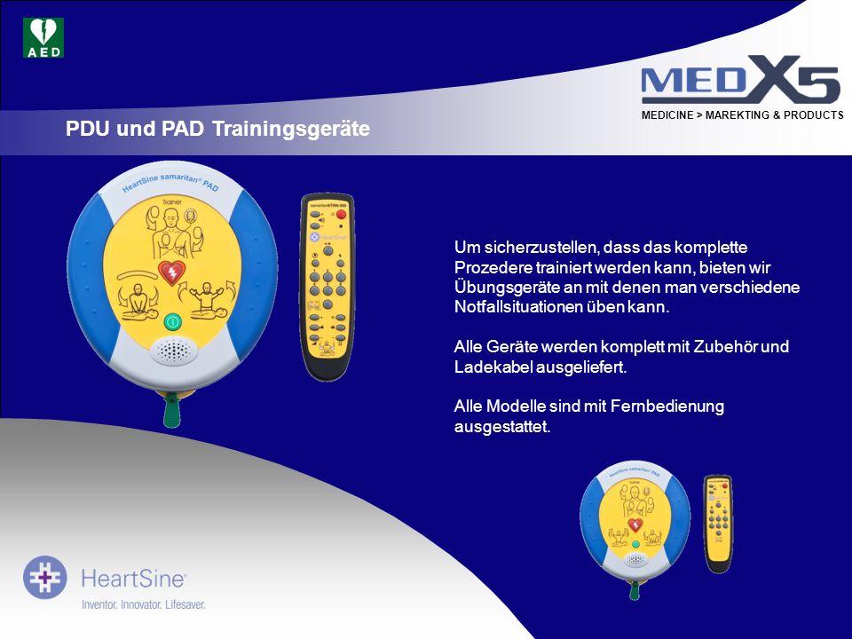 MEDICINE > MAREKTING & PRODUCTS Um sicherzustellen, dass das komplette Prozedere trainiert werden kann, bieten wir Übungsgeräte an mit denen man versc