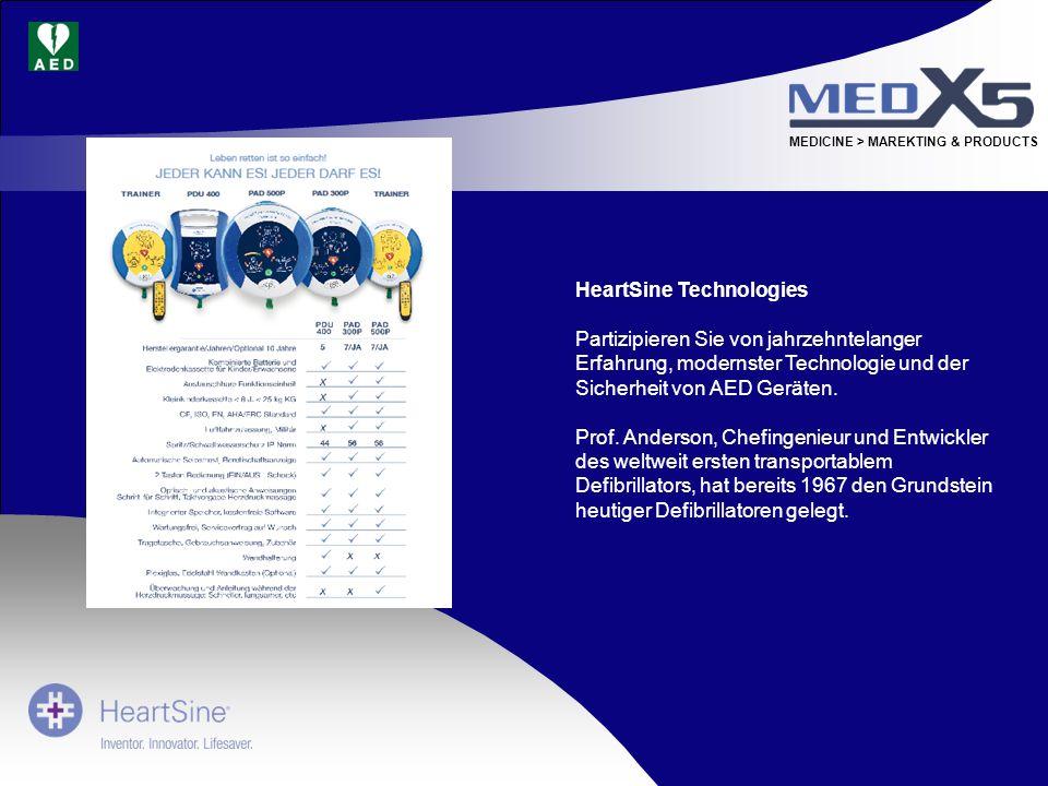 MEDICINE > MAREKTING & PRODUCTS HeartSine Technologies Partizipieren Sie von jahrzehntelanger Erfahrung, modernster Technologie und der Sicherheit von