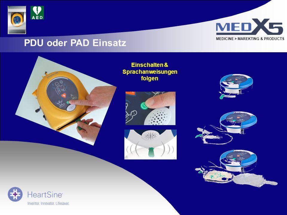 MEDICINE > MAREKTING & PRODUCTS Einschalten & Sprachanweisungen folgen PDU oder PAD Einsatz