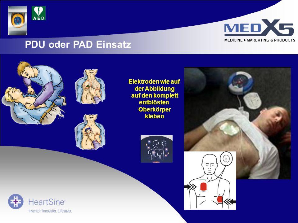 MEDICINE > MAREKTING & PRODUCTS Elektroden wie auf der Abbildung auf den komplett entblösten Oberkörper kleben PDU oder PAD Einsatz