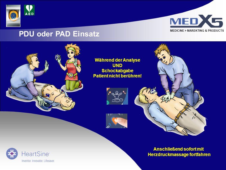 MEDICINE > MAREKTING & PRODUCTS Während der Analyse UND Schockabgabe Patient nicht berühren! Anschließend sofort mit Herzdruckmassage fortfahren PDU o