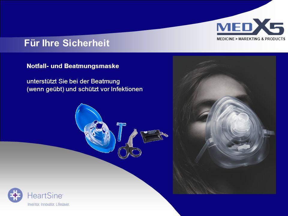 MEDICINE > MAREKTING & PRODUCTS Notfall- und Beatmungsmaske unterstützt Sie bei der Beatmung (wenn geübt) und schützt vor Infektionen Für Ihre Sicherh