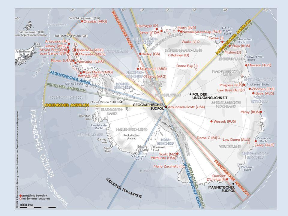 Antarktisvertrag 1959 unterzeichnet Nutzung nur zu friedlichen Zwecken oder Kernwaffenversuche und Lagerung von radioaktiven Abfällen verboten Momentan gültig bis 1941; 45 Staaten haben Vertrag unterzeichnet (auch Österreich)