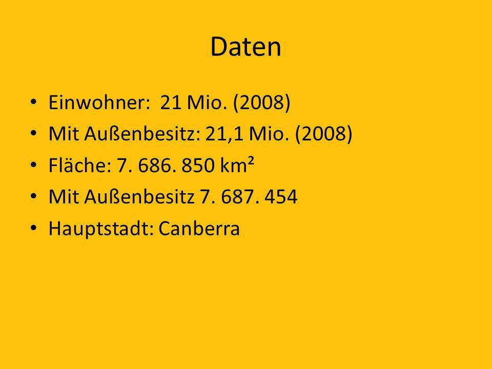 Daten Einwohner: 21 Mio. (2008) Mit Außenbesitz: 21,1 Mio. (2008) Fläche: 7. 686. 850 km² Mit Außenbesitz 7. 687. 454 Hauptstadt: Canberra