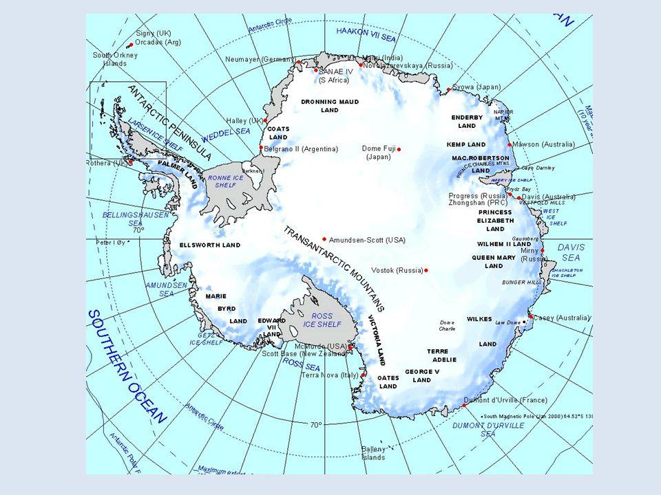 Naturraum Fläche: 12,5 Millionen km² Von 3 großen Weltmeeren umgeben Erscheinungsbild - gigantisches Eisschild - Felsinsel Nunataker Gletschermassen alle 4 Himmelsrichtungen kältester und trockenster Jahresdurchschnitt Temperatur -50°C bis -60°C