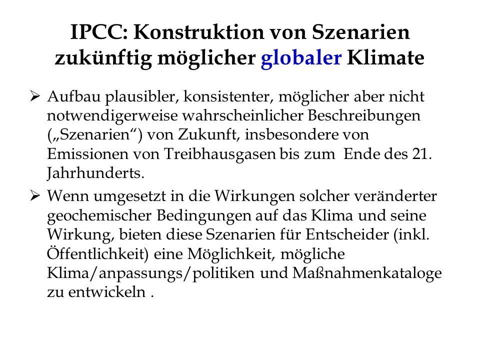 IPCC: Konstruktion von Szenarien zukünftig möglicher globaler Klimate Aufbau plausibler, konsistenter, möglicher aber nicht notwendigerweise wahrschei
