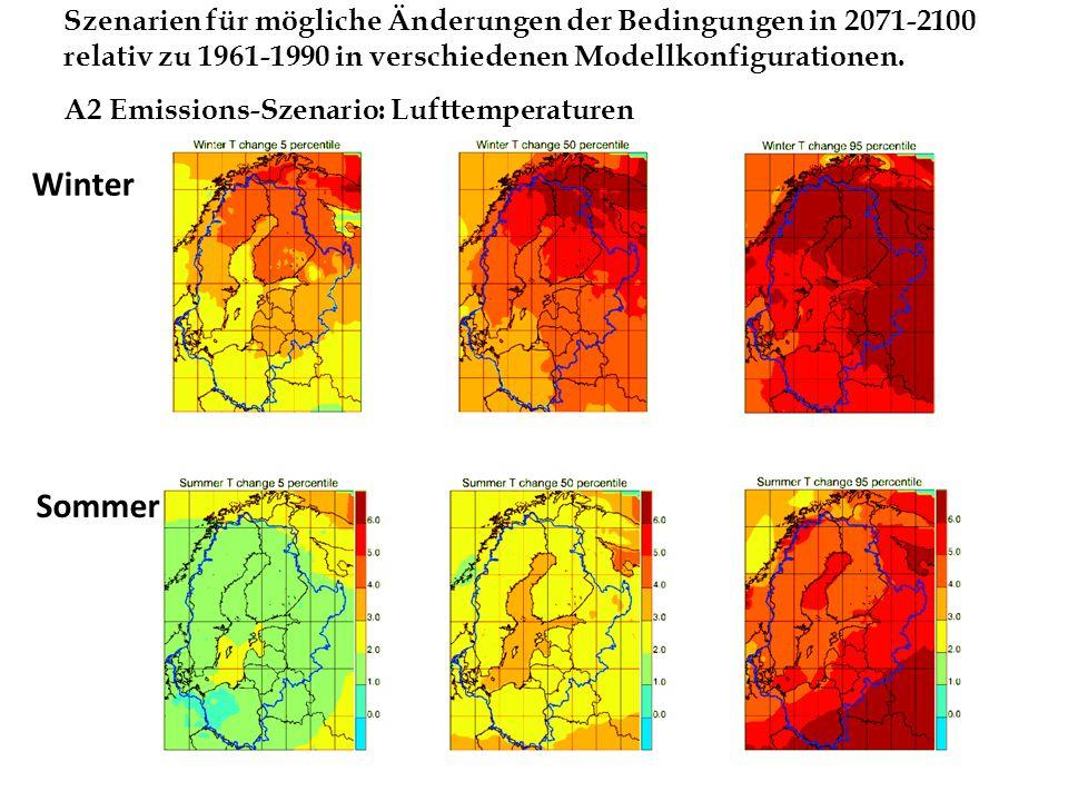 Winter Szenarien für mögliche Änderungen der Bedingungen in 2071-2100 relativ zu 1961-1990 in verschiedenen Modellkonfigurationen. A2 Emissions-Szenar