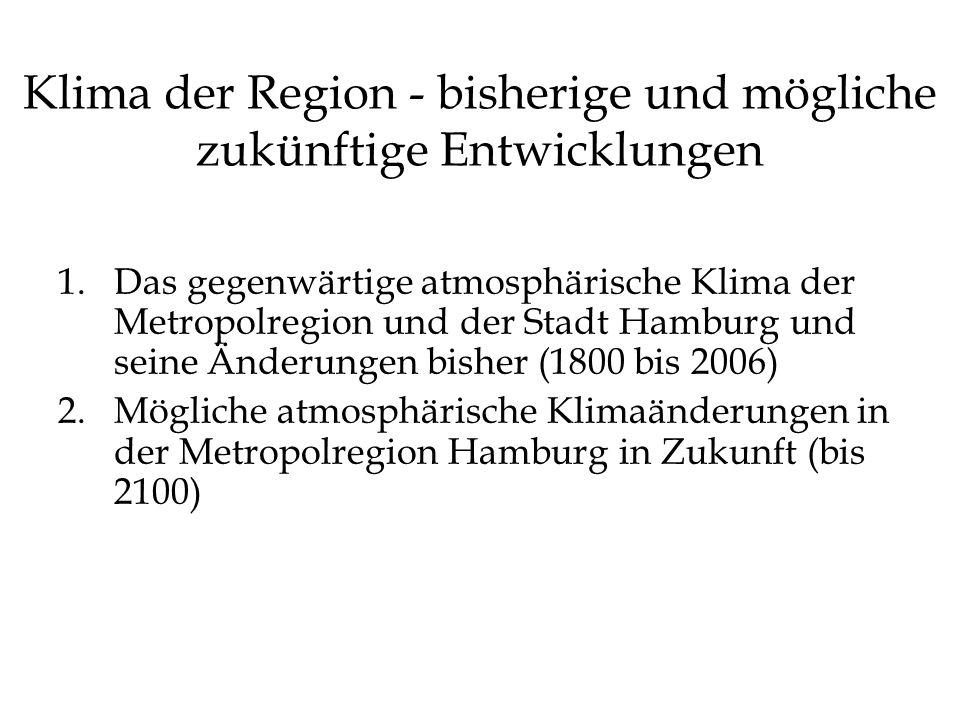 Klima der Region - bisherige und mögliche zukünftige Entwicklungen 1.Das gegenwärtige atmosphärische Klima der Metropolregion und der Stadt Hamburg un