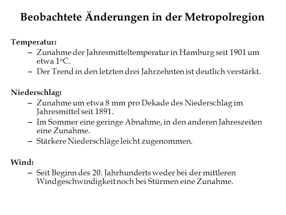 Beobachtete Änderungen in der Metropolregion Temperatur: – Zunahme der Jahresmitteltemperatur in Hamburg seit 1901 um etwa 1 o C. – Der Trend in den l