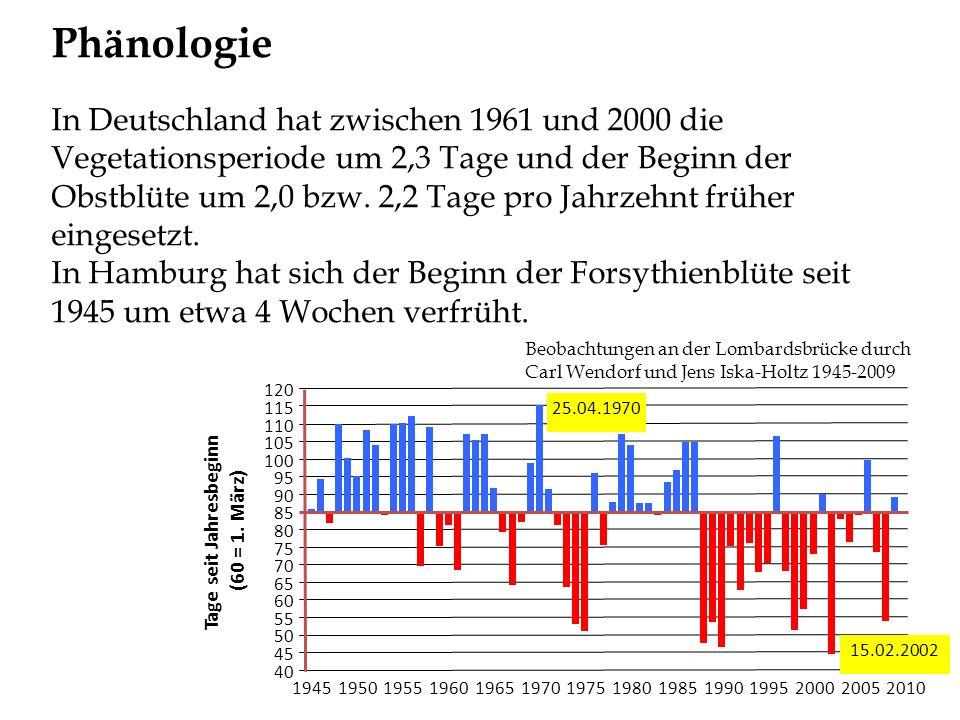 Phänologie In Deutschland hat zwischen 1961 und 2000 die Vegetationsperiode um 2,3 Tage und der Beginn der Obstblüte um 2,0 bzw. 2,2 Tage pro Jahrzehn