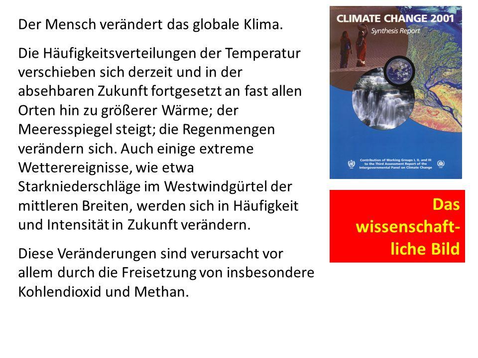 Der Mensch verändert das globale Klima. Die Häufigkeitsverteilungen der Temperatur verschieben sich derzeit und in der absehbaren Zukunft fortgesetzt