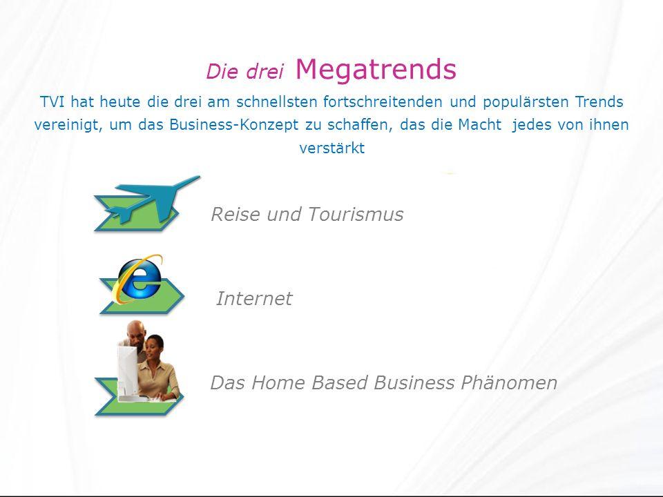 Die drei Megatrends TVI hat heute die drei am schnellsten fortschreitenden und populärsten Trends vereinigt, um das Business-Konzept zu schaffen, das die Macht jedes von ihnen verstärkt Reise und Tourismus Internet Das Home Based Business Phänomen