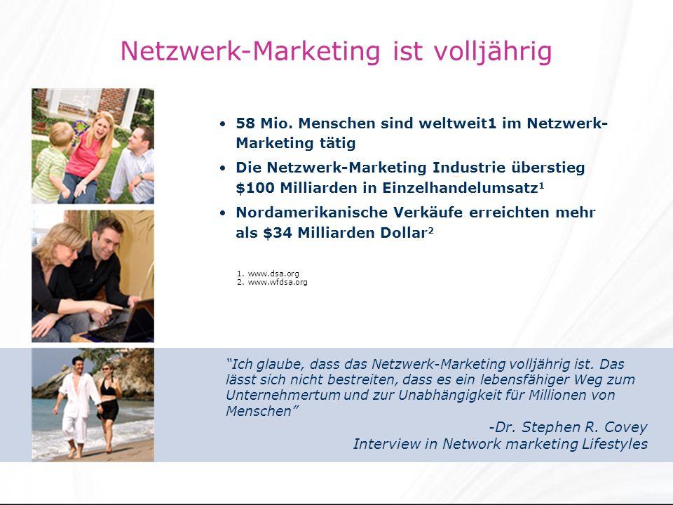 Netzwerk-Marketing ist volljährig 58 Mio.