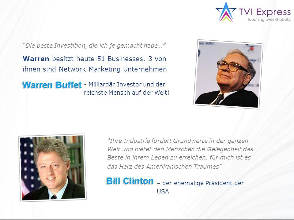 Die beste Investition, die ich je gemacht habe… Warren besitzt heute 51 Businesses, 3 von ihnen sind Network Marketing Unternehmen Warren Buffet - Milliardär Investor und der reichste Mensch auf der Welt.