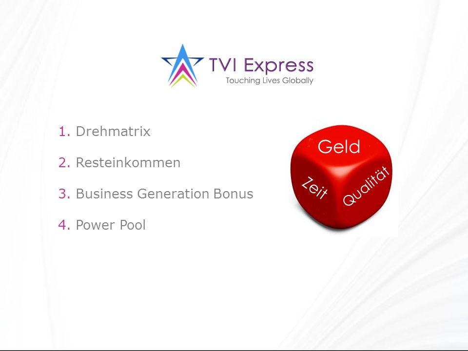 1. Drehmatrix 2. Resteinkommen 3. Business Generation Bonus 4. Power Pool Geld Zeit Qualität
