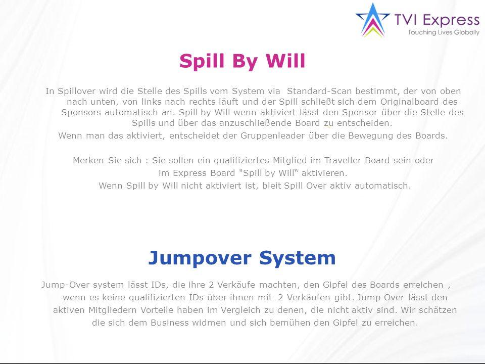 Spill By Will Jumpover System In Spillover wird die Stelle des Spills vom System via Standard-Scan bestimmt, der von oben nach unten, von links nach rechts läuft und der Spill schließt sich dem Originalboard des Sponsors automatisch an.