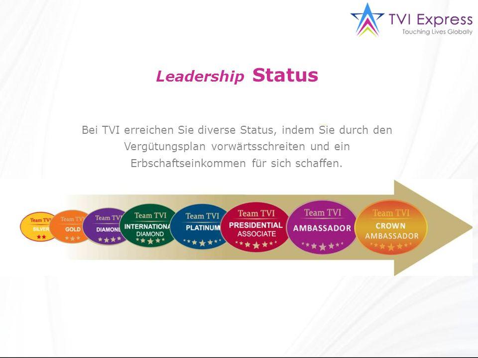 Leadership Status Bei TVI erreichen Sie diverse Status, indem Sie durch den Vergütungsplan vorwärtsschreiten und ein Erbschaftseinkommen für sich schaffen.