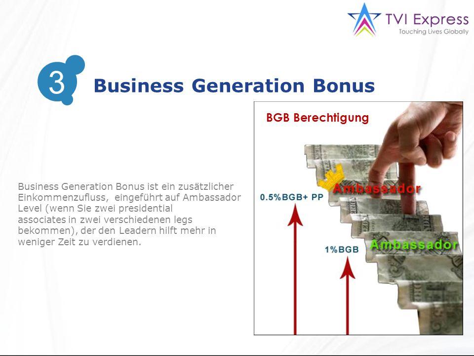 3 Business Generation Bonus 3 Business Generation Bonus ist ein zusätzlicher Einkommenzufluss, eingeführt auf Ambassador Level (wenn Sie zwei presidential associates in zwei verschiedenen legs bekommen), der den Leadern hilft mehr in weniger Zeit zu verdienen.