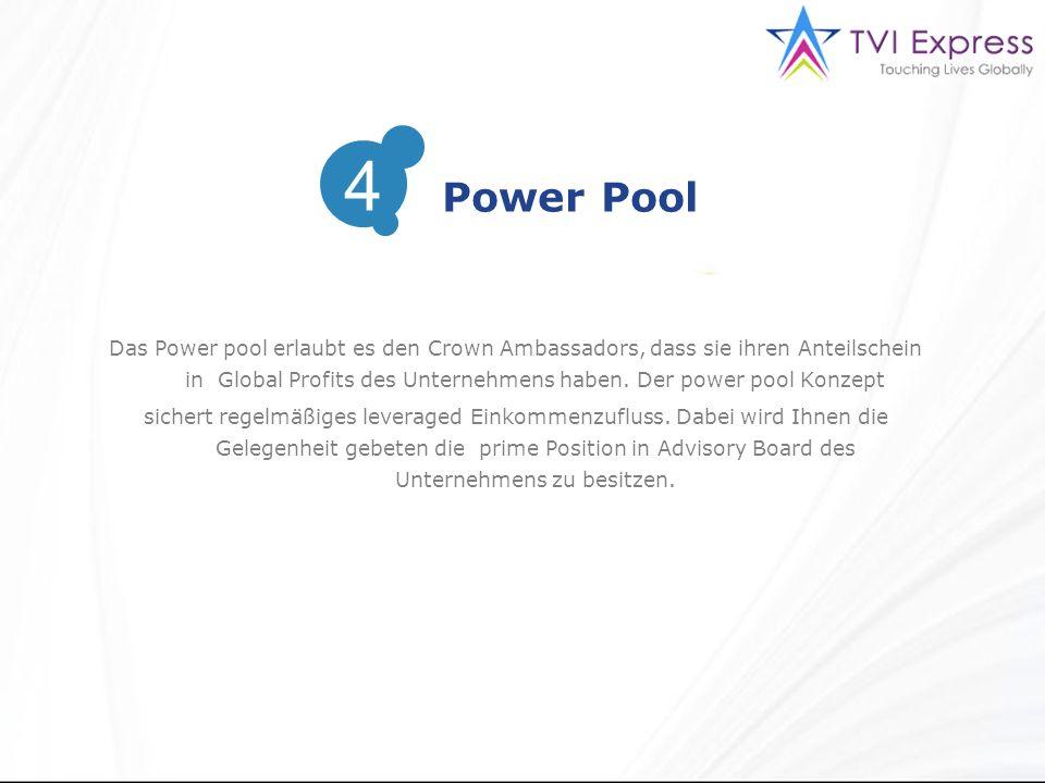 Das Power pool erlaubt es den Crown Ambassadors, dass sie ihren Anteilschein in Global Profits des Unternehmens haben.