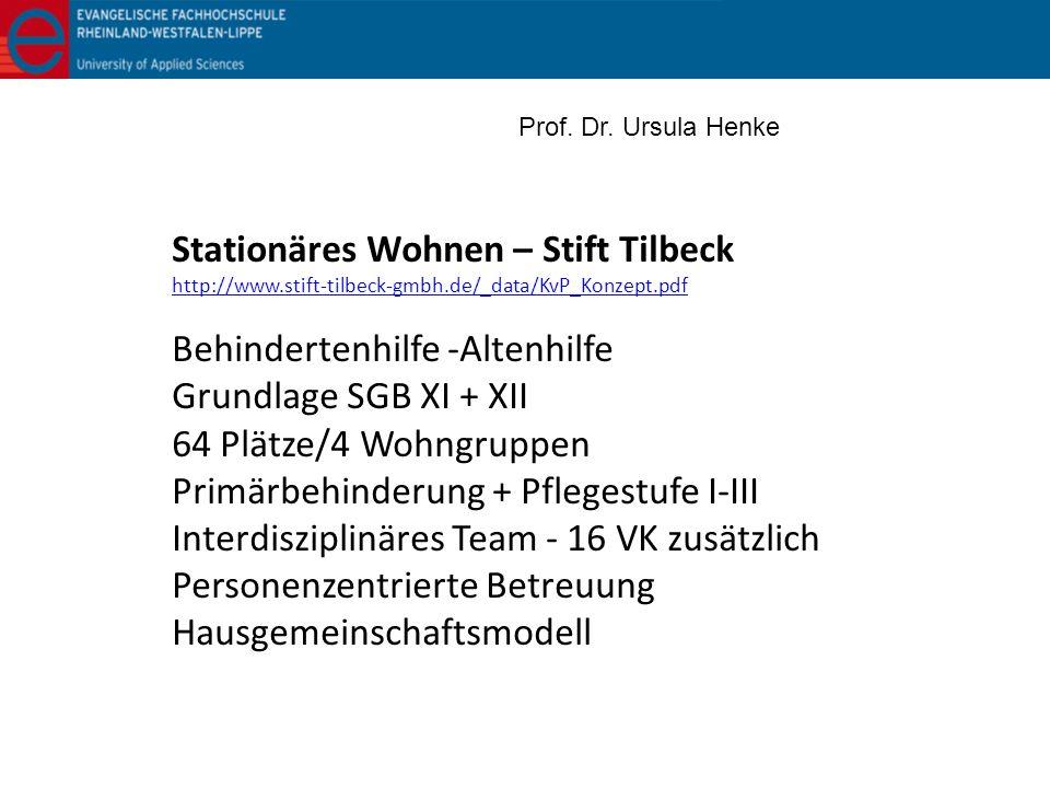 Stationäres Wohnen – Stift Tilbeck http://www.stift-tilbeck-gmbh.de/_data/KvP_Konzept.pdf Behindertenhilfe -Altenhilfe Grundlage SGB XI + XII 64 Plätz