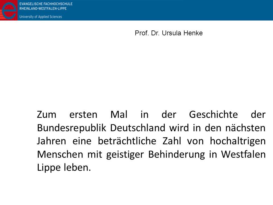 Zum ersten Mal in der Geschichte der Bundesrepublik Deutschland wird in den nächsten Jahren eine beträchtliche Zahl von hochaltrigen Menschen mit geis