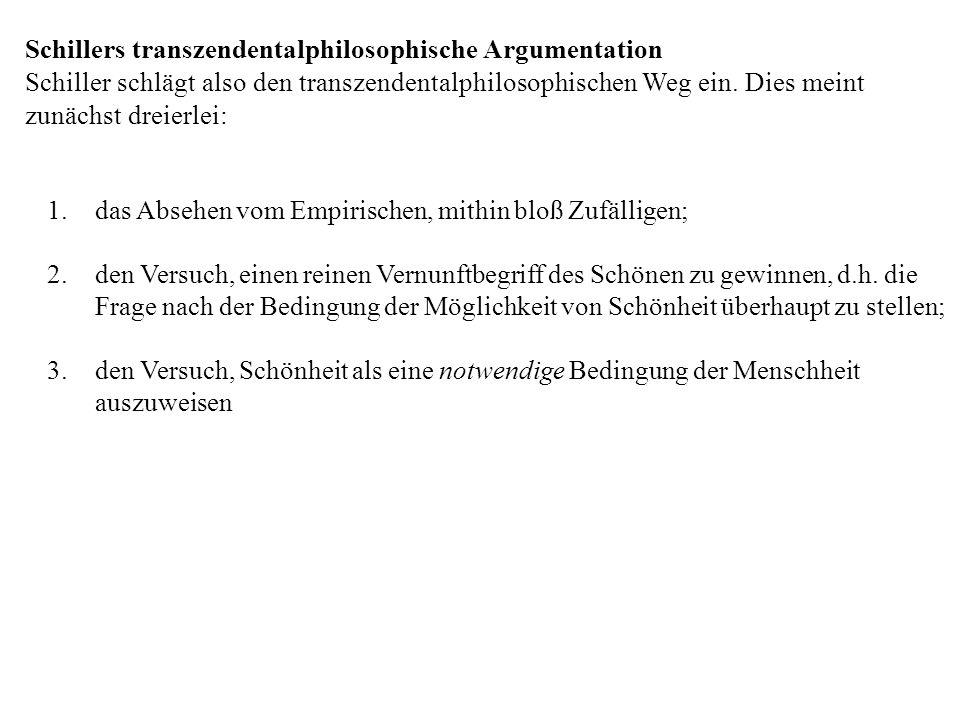 Schillers transzendentalphilosophische Argumentation Schiller schlägt also den transzendentalphilosophischen Weg ein. Dies meint zunächst dreierlei: 1