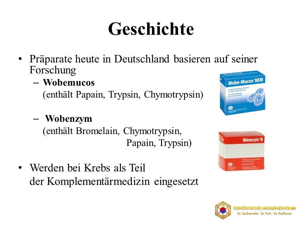 Geschichte Präparate heute in Deutschland basieren auf seiner Forschung – Wobemucos (enthält Papain, Trypsin, Chymotrypsin) – Wobenzym (enthält Bromel